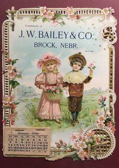 Incredible Diecut Calendar Top Sign 2 Kids & Flowers Bailey Co Brock Nebraska Fr