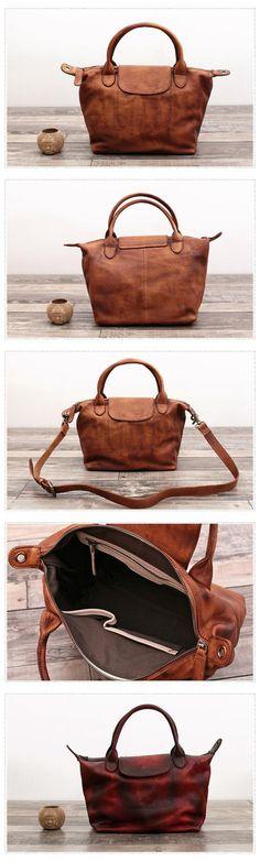 Full Grain Genuine Leather Tote Bag Women Handbag Cross body Bag WF 77