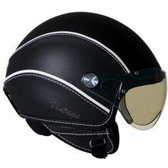 Nexx Vintage Open Face Helmet (Gray Black, X-Small) Leather Motorcycle Helmet, Open Face Motorcycle Helmets, Open Face Helmets, Motorcycle Gear, Scooter Helmet, Bicycle Helmet, Riding Gear, Riding Helmets, Scooters