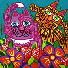 'Cracked Cats in the Garden' by Lisa Frances Judd