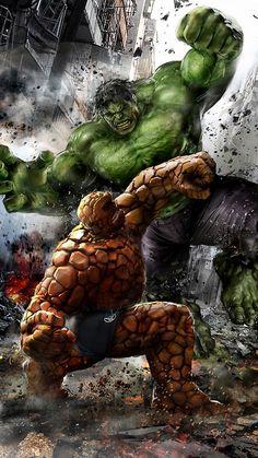 The Thing vs Hulk by uncannyknack - Geek Art. Follow back if... #comics #art