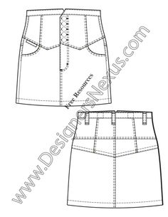 High-waist yoke skirt flat fashion sketch template for fashion portfolio design and CAD presentation boards.