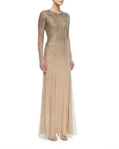 Long-Sleeve Embellished Gown, Silver by Jenny Packham at Neiman Marcus.
