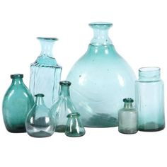 Collection of Eight 15th-16th Century European Glass Bottles For Sale