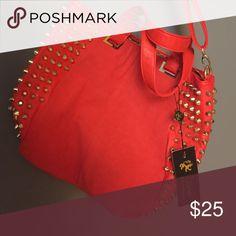 studded handbag never used red handbag with gold studs Lionel Bags Hobos