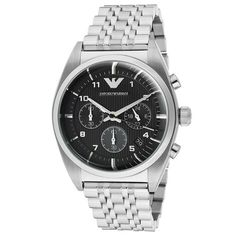 4e372678f49 Chronograph Black Dial Stainless Steel Men s Watch. Armani Logo ...