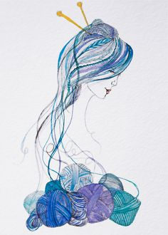 Knitter's Dream - Watercolor and ink illustration by Angelique Cook