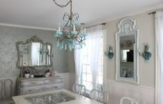 PURPLE AND WHITE DINNING ROOM S | Blue opaline chandelier and sconces look pretty with all the white.