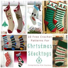 Shown (left to right, top to bottom)  1. Cross Stitch Stockings by Bernat Design Studio  2. Snowman Stocking by Bernat Design Studio  3. Holly & Berry Stockings by Michele Maks  4. Diamonds and Gems Stocking from Crochet Zone  5. African Flower Crochet Stocking by Alexis Middleton  6. Sn