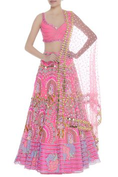 Feminity is characterized by this soft demure pink lehenga set in tule. It showcases sequin, cutdana and bead work along with embroidered rose motifs. The semi backless blouse accentuates the look. Bridal Lehenga Online, Designer Bridal Lehenga, Indian Bridal Lehenga, Lehenga Wedding, Indian Wedding Gowns, Indian Bridal Outfits, Indian Gowns Dresses, Eid Dresses, Designer Party Wear Dresses
