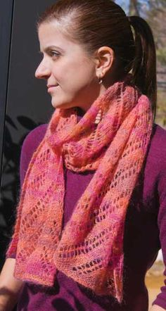 Diagonally Yours Scarf Pattern by Knit One, Crochet Too in Ty-Dy Superkid yarn