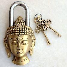 Antique brass padlock with keys