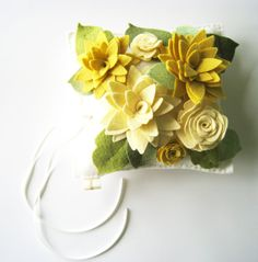 Wool Felt Flowers Ring Bearer Pillow Yellow White by HeyMiemie, $65.00