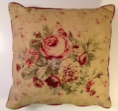 Waverly Floral Throw Pillow Bed Sofa Chic Shabby Cottage Cabbage Roses Zipper