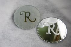 Monogrammed coasters make great table decorations and favors. Glass etching with the Cricut makes it easy. From @Jenny Rohrs.