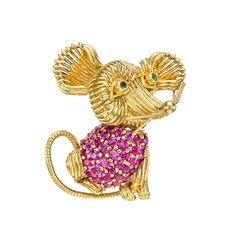 Estate Tiffany & Co. 18k Gold & Pavé Ruby Mouse Pin