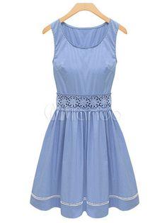 Sweet Light Sky Blue Cotton Blend Lace Women's Skater Dress - Milanoo.com