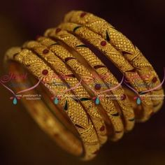B9707 Set Bangles 6 Pieces One Gram Gold Gheru Finish Latest Jewellery Collections Online