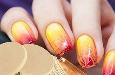 Bright gradient nails, Citrus nails, Gradient nail art, Julynails, Summer nails 2016, Summer ombre nails