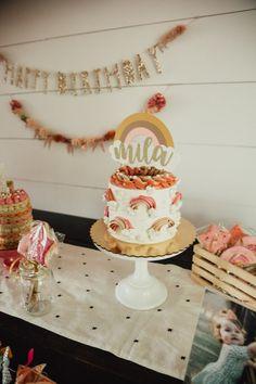 Rustic Birthday Cake, Girls First Birthday Cake, Rainbow First Birthday, 2nd Birthday Party Themes, One Year Birthday, First Birthday Parties, First Birthdays, Birthday Ideas, Boho