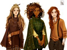 "Harry potter world · dasstark: ""witch gang"" - luna lovegood, hermione granger & ginny weasley the Fanart Harry Potter, Harry Potter Fandom, Harry Potter Witch, Ginny Weasley, Roxanne Weasley, Luna Lovegood, Hogwarts, Character Inspiration, Character Art"