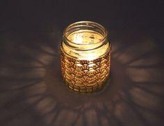 Handmade Crocheted Tea Light Jar in Beige Jar Lights, Mason Jar Lamp, Tea Light Holder, Table Lamp, Candles, Beige, Homemade, Ebay, Home Decor