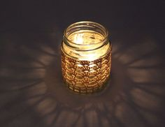Handmade Crocheted Tea Light Jar in Beige