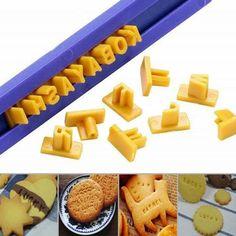 1 pcs nova letra do alfabeto número de Cookie imprensa selo Embosser cortador Fondant moldes do bolo molde