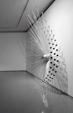 Byoungho Kim. A Host, 2009. Aluminum, piezo, arduino duemilanove, 180 x 60 x 290(h) cm.