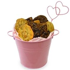 Tickled Pink Bucket - Perfect gift for Valentine's Day Cookie Gift Baskets, Valentine's Day Gift Baskets, Cookie Gifts, Gourmet Cookies, Gourmet Desserts, No Bake Cookies, Valentines Day Cookies, Valentine Day Gifts, Brownie Cake