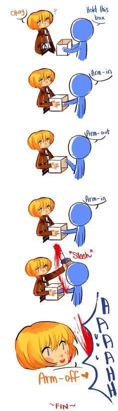 "Finally, an end to all those ""Arm-out"" jokes!   Armin Arlert   Attack on Titan   Shingeki no Kyojin"