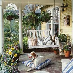 Take advantage of the shade, views and privacy a porch can offer. Pick colors and furnishing to suit the style of your house so that the porch feels like an extension of the house.