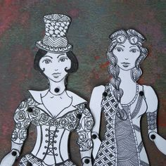 Paper Doll Set Hand Drawn Black White Ink Art Dolls Fully Articulated set of 2