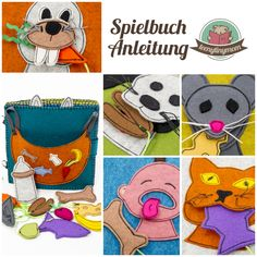 lustiges Spielbuch für Kleinkinder Stoffbuch Filzbuch Softbook Quiet book Activity book ein Spielbuch nähen Anleitung tutorial