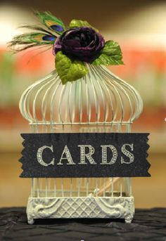 Peacock Theme Wedding Decorations and Linens (purple, teal, lime green) :  wedding birdcage ceremony green linens peacock pintuck purple reception silver teal Card Box