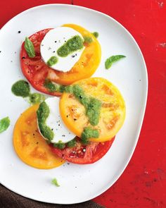 Tomato and Goat-Cheese Salad with Basil Vinaigrette Recipe