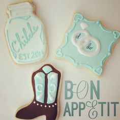 Country wedding cookies, boots and mason jars