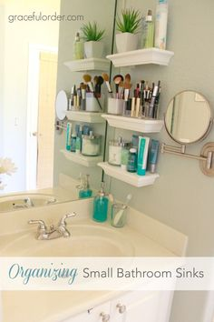 Are you limited in storage space in the bathroom? Maria combated her bathroom clutter with a few small shelves to provide great storage for...Organizing Small Bathroom Sinks r