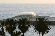 The Wedge is a world-famous surfing, bodyboarding and bodysurfing spot located at the extreme east end of the Balboa Peninsula in Newport Beach, California. During a south swell of the right size and direction, the Wedge can produce huge waves up to 30 feet (9.1 m) high.    15-18 foot swell (Photo taken from Corona Del Mar)