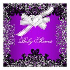 Girl Baby Shower Pretty Purple White Black Personalized Announcements