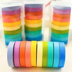 G19 10X Candy Solid DIY Craft Decorative Scotch Adhesive Tape Washi Sticker Scrapbooking Fita Adesiva Stationery Papeleria