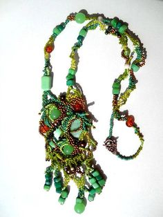 Beaded jewelry. Freeform Peyote  Beaded Necklace, green, brown and golden, ooak jewelry by Ibolya.  via Etsy.