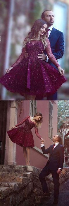 Grape Homecoming Dress,Beading Prom Dress,Knee Length Prom Dress,A Line Party… #HomecomingDress