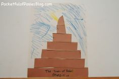 Tower of Babel.  Did this craft the last time I taught the lesson on the tower of babel.  Used black cardstock and cross scrapbook paper from Hobby Lobby.