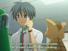 Tomoya was such an awesome jerk. Prank Calling Sunohara's little sister.