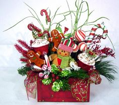 Gingerbread Sweet Treat Christmas Floral Arrangement Holiday Centerpiece in Red Trunk Treasure Chest ADORABLE! by Cabin Cove Creations