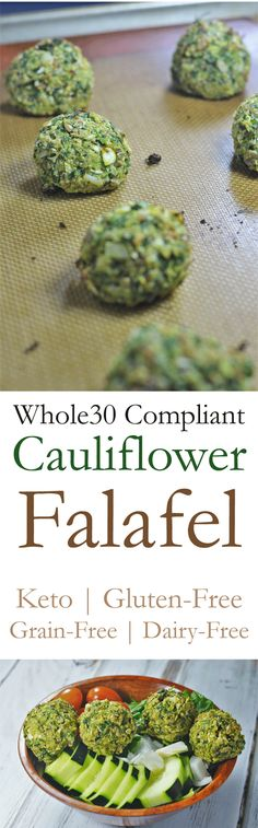 Delicious vegetarian keto and Whole30 compliant falafel made with cauliflower!