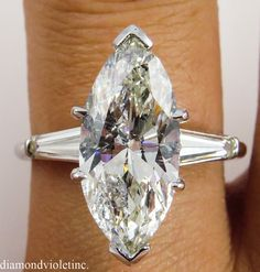 Estate Vintage Marquise Diamond Engagement by DiamondViolet - Engagement Rings Vintage Platinum Wedding Rings, Wedding Rings Vintage, Vintage Engagement Rings, Marquise Cut Diamond, Diamond Rings, Dream Ring, Antique Jewelry, Hand Ring, Bling Bling