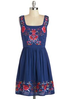Judy Blue Skies Dress - Boho, Mid-length, Blue, Red, Multi, Floral, Embroidery, Casual, A-line, Tank top (2 thick straps), Vintage Inspired, 70s, Folk Art