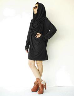 NO.101 Black Cotton-Blend Jersey High Cowl Neck Tunic Top